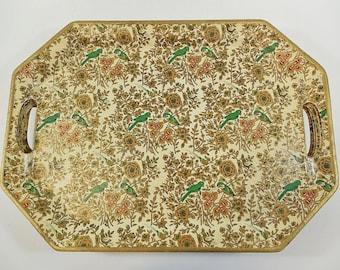 Set of 5 Lobeco Mid-Century Fiberboard Handled Trays, Japan - Birds, Floral