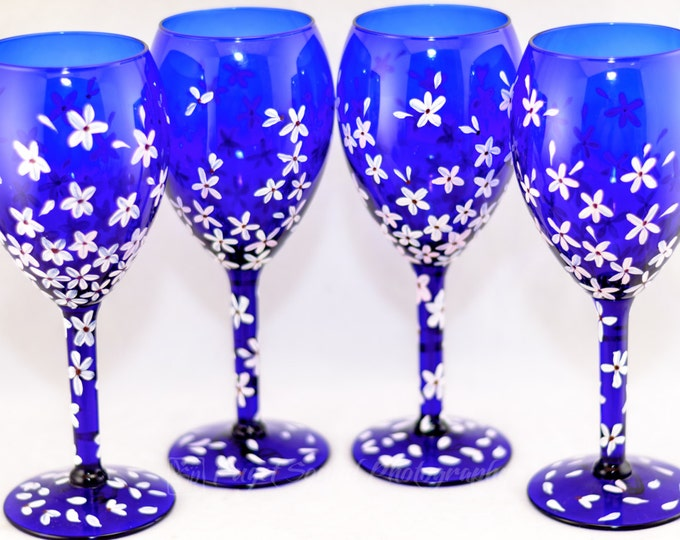 Featured listing image: Wine Glasses - Cobalt Blue (4) - Cherry Blossom Design - Hand Painted