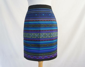 Blue Geometric - Printed Hmong Pencil Skirt