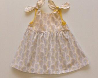 BABY DRESS LEMON,  lemon and gray baby dress, size 3 6 12 18 months 2T, toddler dress yellow, baby girls dress, baby girl gift