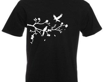 Mens T-Shirt with Tree Branch with Falling Leafs, Birds and Flowers Design / Forest Shirts / Nature Shirt + Free Random Decal Gift