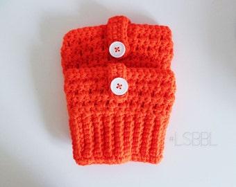 Orange Button Boot Cuffs