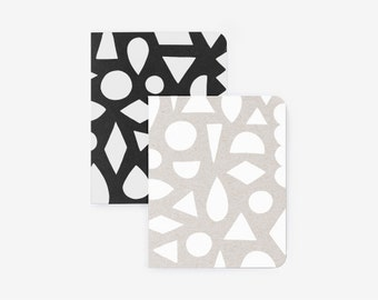 Pocket Journal Set - Modern Shapes - Screen Printed Note Book with Blank Pages