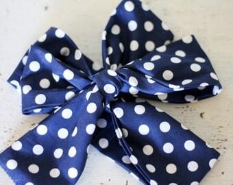 Baby headband; Rosie Wrap-headwrap; navy polka dot fabric head wrap; newborn headband; baby headband; toddler headband; adult headband; girl