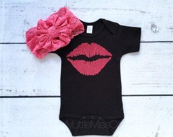 sparkle lips onesie, baby girl onesie, sparkle onesie, baby clothing, baby onesie, little girl shirts, sparkle, baby shower gift, baby girl