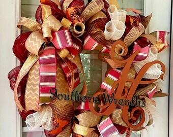 Monogram  Fall Door Wreath~ Front Door Wreath~ Personalized Fall Door Decoration~Deco Mesh Fall Wreath~ Door Wreath~Autumn Wreath~