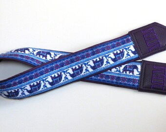 Personalized Camera Strap. Dark Purple camera strap with Lucky elephant and embroidery by InTePro