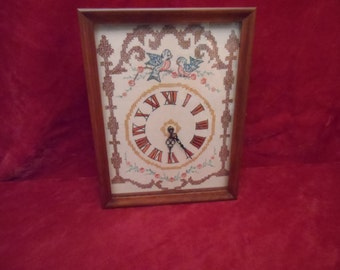 Crewel Embroidered Wall Clock