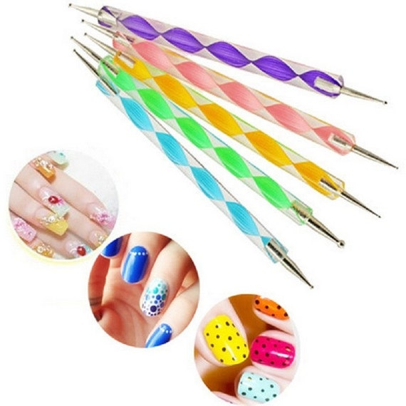 Pack Of 5 Pcs 2 Way Marbleizing Dotting Manicure Tools