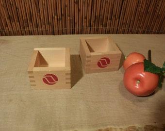 Japanese Wooden Sake Cup Set of 2
