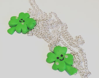 Four leaf clover lucky charm necklace
