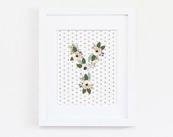 Shabby Chic Nursery Decor, Floral Nursery Wall Art, Letter Y Art, Initial Art Print, Kids Bedroom, Girls Nursery Decor, Nursery Art Print