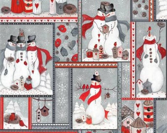 Grey Snowmen Patchwork, Season's Greetings cotton fabric, by Fabriquilt