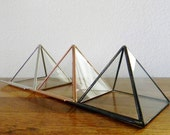 Clear Stained Glass Pyramid Business Card Holder - Made to Order- Your Choice: Silver, Copper, or Black