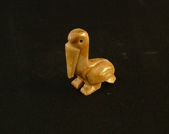 Hand-Carved Soapstone Pelican, Small