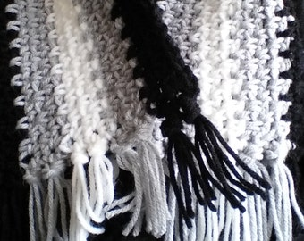 Black Grey and White Stripe Crochet Scarf