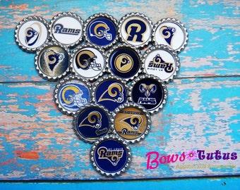 "SET of 15 1""  St Louis Rams Football Team Bottle Cap Center - Crafting Supply"