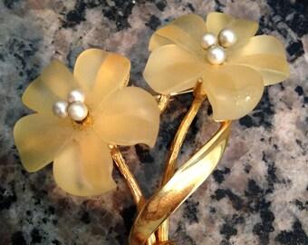 Pale Yellow Flower Brooch