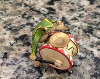 Miniature Frog Figurine Playing Drums and Cymbals