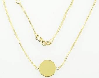 14K Yellow Gold 11mm Round Disc Pendant Charm Engraved Personalized Monogram CKL3769
