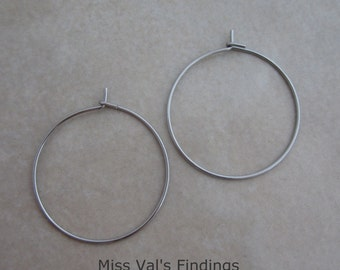 200 stainless steel earring or wine glass charm hoops
