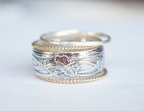 Boho Rings Art Nouveau Ring Mixed Metal Rings 14k Gold By