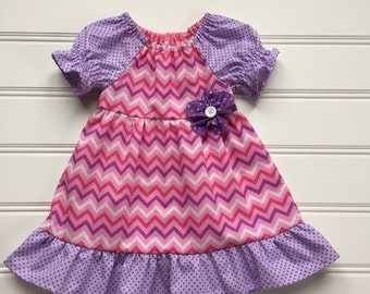 Girl Pink and Purple Chevron Dress, Toddler Dress, Girl Summer Dress, Girl Pink Dress, Little girl Dress, Toddler Girl Clothes