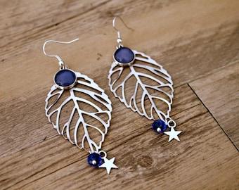 Bohemian earrings with print light blue sheet
