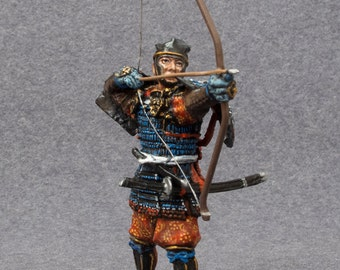 Japanese Miniature Soldiers Samurai Bowman Medieval 12th Century 1/32 Scale Hand Painted Toy 54mm Tin Metal Figurines