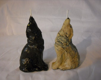 Two Howling Wolves Candles-wolf-two wolves-dog candle-2pack-Home Decor-Candles-
