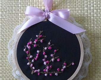 Japanese Cherry Blossom Wall Art on black fabric