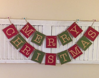READY to SHIP Merry Christmas Banner Sign Garland Primitive Red and Green Bunting Beautiful Fireplace Decoration Photo Prop