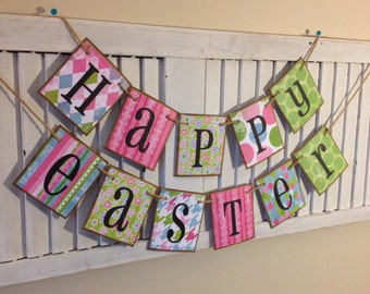 Easter Banner Bunting Garland Happy Easter Colorful Spring Photo Prop