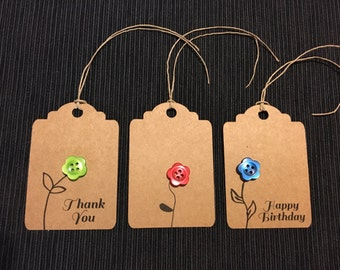 Hand crafted gift tags, gift tags with button, birthday tags, thank you tags