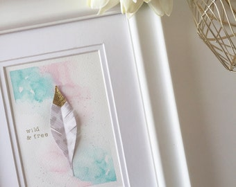 Wild and Free Pink and Gold Tipped Feather Watercolor Nursery Art and Decor
