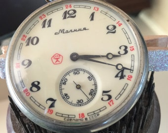 Vintage Russian USSR Molnija Pocket Watch