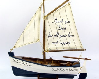 Father of the Bride or Father of the Groom personalized gift, wooden model sailing, fishing boat, nautical beach theme, 22cm