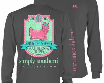 Simply Southern Monogrammed - All the Nice Things are Southern and Preppy Charcoal Long Sleeve Pocket Tee Shirt -  Logo Pocket Tee