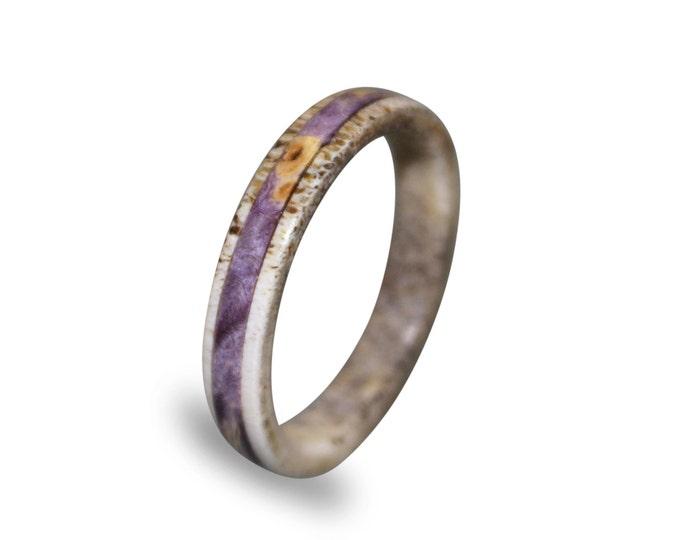 Deer Antler Ring, Womens Antler Ring With Purple Box Elder Burl Inlay
