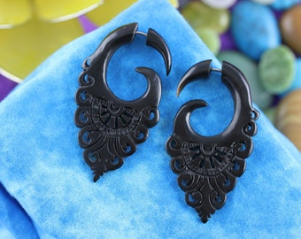 Black Horn Fake Gauge Earrings (Pair) -  Fake Gauged Organic Horn Taper Plugs - B035