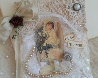 Christmas Card, Shabby Chic Doilies & Lace, Snow Angel