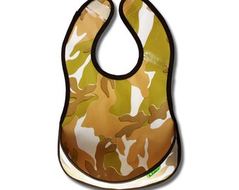 Bib small 6m-2y waterproof wipeable with tray Bibinez Camouflage light - brown