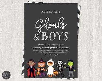 Kids Halloween Party Invitation   Calling All Ghouls and Boys   Birthday   Costume Party   Printable   Digital File