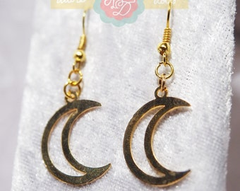 Gold Cresent Moon Earrings