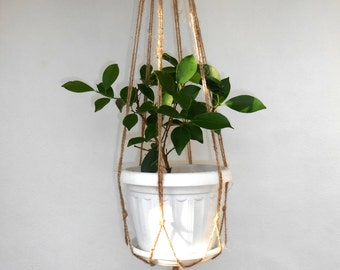 "Macrame Plant Hanger 27"" Natural Jute Macrame Plant Holder Indoor Outdoor Hanging Planters Rustic Home Decor"