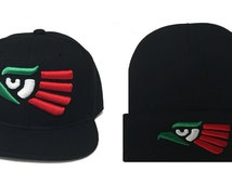 MEXICO EAGLE Hecho en Mexico  Black  Cuffed Long Beanie  & Black Snapback Cap Beanie Set