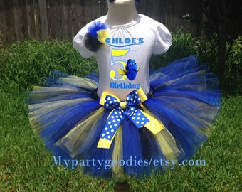 Finding Dory tutu, Finding Dory outfit birthday, Finding Dory birthday shirt, Dory tutu and shirt set