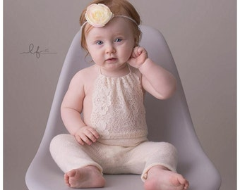 Stella Romper, Cream Lace Romper, Sitter Romper, Baby Photo Props, Baby Girl Prop Outfit, Baby Props, Photography Sitter Props, UK Selle