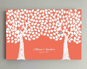 225 Guest Wedding Guest Book Wood Two Double Tree Wedding Guestbook Alternative Guestbook Poster Wedding Guestbook Poster - Coral Mint Teal