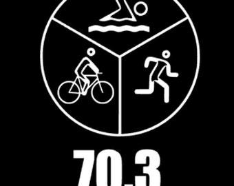 Ironman Triathlon Decal, Swim,Bike,Run Decal, 70.3 Decal, Triathlete Gift